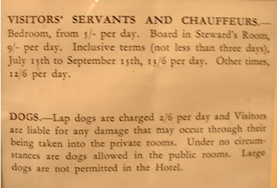 Extract from the tariff of the Grand Hotel
