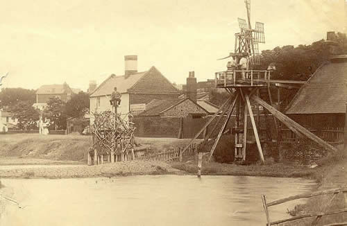 Salt works showing wind and hand pumps