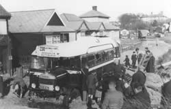Bus caught by the high tide in Ferry Road - February 1938
