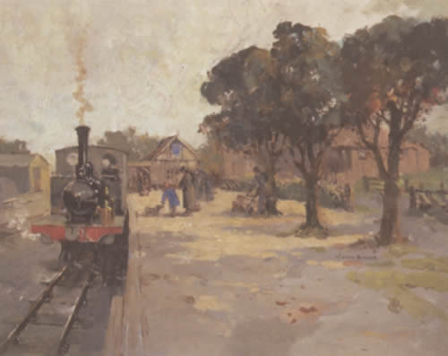 Southwold Station - Oil painting by William Benner