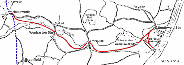 The Course of the Southwold Railway from Southwold to Halesworth