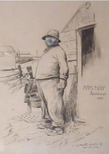 Drawing of Sam May by William Fletcher Thomas 1923