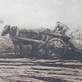 Etching of Horse and Cart by Harry Becker